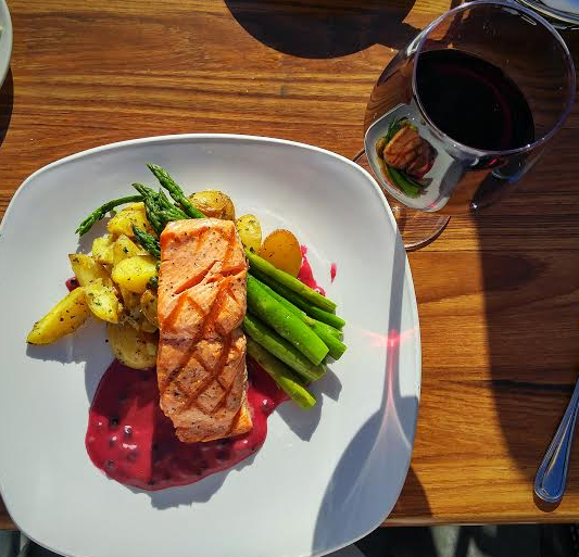 Grilled King Salmon with Willamette Valley Pinot Noir (Photo Credit: Lesley Haenny)