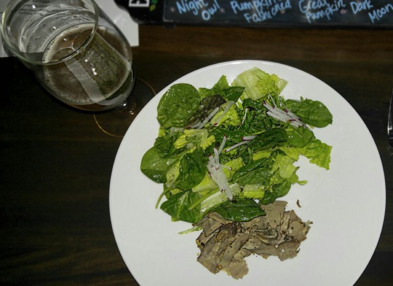 Beef and Horseradish Salad paired with Saison Elysee (Photo Credit: Lesley Haenny)